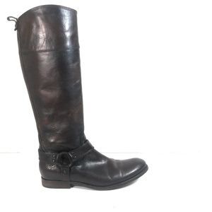 Frye Women Brown Riding Tall Harness Zip Boots 9 B